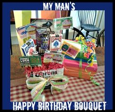 Man's bouquet   made with his favorite things, beer, lotto tickets, beef jerky,energy shots, playing cards, and cigars . perfect for birthday , fathers day, or just because!