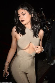 Go nude... in Kylie's skintight jumpsuit by House of CB   Click 'visit' to buy it now  #DailyMail