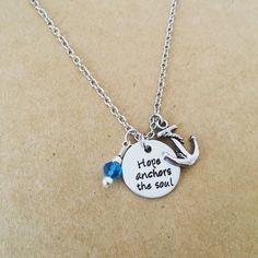 HOPE anchors the soul hand stamped necklace by RusticRoseDesigns1 / etsy / hand stamped anchor necklace / inspirational quote necklace / blue anchor