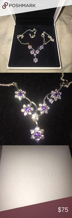 Pandora purple flower diamond necklace Pandora purple diamond flower necklace Pandora Jewelry Necklaces
