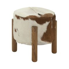 The perfectly Western DecMode Round Teak Wood and Hide Foot Stool features a padded top upholstered in brown and white hair on hide. The foot stool. Antique White Furniture, Cream Furniture, Modern Furniture, Wood Furniture, Soft Feet, Teak Wood, Furniture Collection, Home Decor Items, Dot And Bo