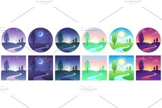 Sky and field daytime circle and square icon vector set. Landscape night and day, moon and sun, time day morning different illustration Day For Night, Night Time, Time Icon, Dawn And Dusk, Design Set, Tree Designs, Beautiful Scenery, Bath Salts, 2d