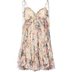 Zimmermann Women's Jasper Ruffle Floral Mini Dress ($595) ❤ liked on Polyvore featuring dresses, floral, vestidos, pink ruffle dress, floral dresses, empire waist dress, silk dress and short pink dress