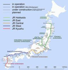 Mapas de trenes Shinkansen de alta velocidad japoneses Pineado desde http://www.yofederico.com
