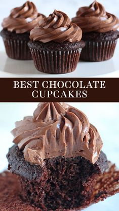 Cupcake Recipes 98976 The BEST Chocolate Cupcakes ever! Easy from-scratch recipe that is ultra moist with a homemade chocolate frosting. You'll love this simple recipe made with cocoa powder and a dash coffee. Great dessert for a crowd! Cupcake Recipes From Scratch, Easy Cookie Recipes, Dessert Recipes, Moist Cupcake Recipes, Homemade Cupcake Recipes, Baking Recipes, Best Easy Cupcake Recipe, Party Desserts, Home Made Cupcakes