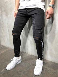 Creating DIY Fashion Trends – Designer Fashion Tips Plaid Jeans, Denim Jeans Men, Ripped Jeans, Stylish Mens Fashion, Latest Mens Fashion, Stylish Menswear, Streetwear Jeans, Streetwear Fashion, Jogging
