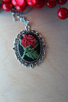 Cross stitch Necklace/Handmade Embroidered by TheStitchOfHappiness Pendant Jewelry, Diy Jewelry, Jewelry Gifts, Handmade Jewelry, Rose Embroidery, Cross Stitch Embroidery, Cross Stitch Patterns, Homemade Necklaces, Cross Jewelry
