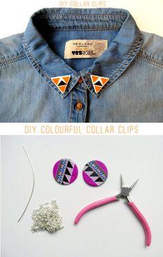 DIY colourful collar clips!