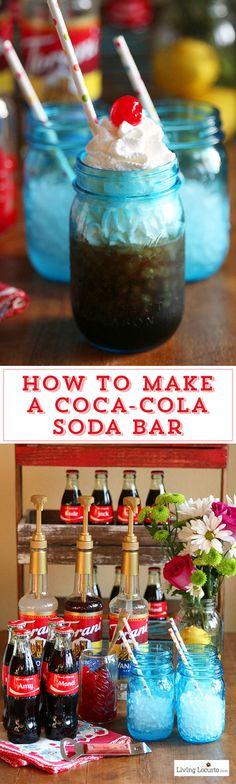 How to make a DIY Coca-Cola Soda Bar. A fun and easy party idea as an alternative to a Italian Soda Bar. Share a Coke with your own drink recipe! LivingLocurto.com #ShareaCoke #ShareaCokeSweepstakes