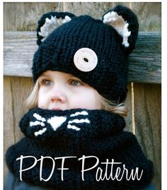 Tejer PATTERN-The Caitlynn gato Set tamaños niño por Thevelvetacorn