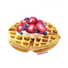 Strawberry waffle, WHATACOLOR, watercolor, 2016