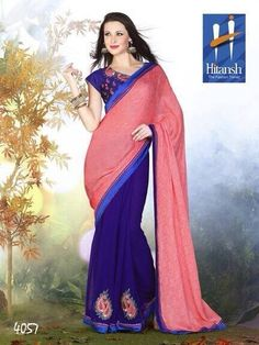 Product not found! Georgette Sarees, Hot Pink, Chiffon, Sari, Wednesday, Fabrics, Blue, Facebook, Fashion
