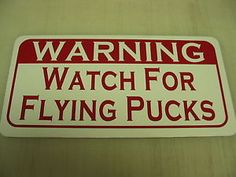 Vintage-Style-WATCH-FOR-FLYING-PUCKS-Metal-Sign-Hockey-Club-Rink-Stick-Skates