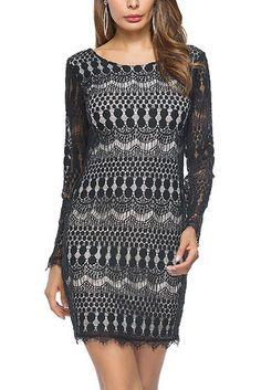 232719e80c Chicloth O-Neck Long Sleeve Women Casual Dress Lace Insert Dress