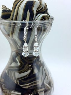 Clear Faceted Crystal with Clear Crystal Roundel Drop Earrings by KoningStilsonDesign on Etsy Crystal Drop, Faceted Crystal, Crystal Earrings, Drop Earrings, Black Crystals, Swarovski, Etsy Shop, Boho, Trending Outfits