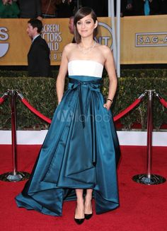Charmant couleur de blocage robe Marion Codillard de célébrité féminines sans bretelles - Milanoo.com