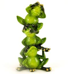 Amazon.com - 1 X Glossy Frog Hear-Speak-See No Evil Collectible Figure, 6-inch - Collectible Figurines