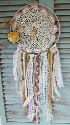Pink and white bohemian dream catcher by StuckLIKEglueJB on Etsy