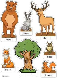 French resources, animals and pets, animals for kids, read in french, learn Animal Crafts For Kids, Animals For Kids, Animals And Pets, Zoo Animals, Fun Facts About Animals, Animal Facts, Pop Up, Forest Animals, Paper Toys