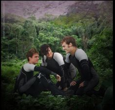 Josh Hutcherson, Jennifer Lawrence and Sam Claflin at the set of The Hunger Games: Catching Fire