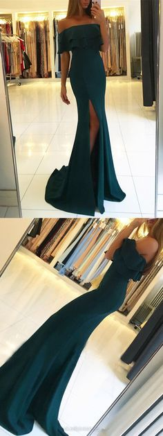 Long Prom Dresses Mermaid, Green Prom Dresses With Slit, Off-the-shoulder Evening Dresses 2018, Formal Prom Dresses for Teens