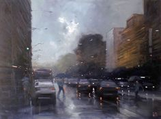 Australian painter Mike Barr focuses his work almost exclusively on rainy cityscapes, the moments of hazy gray that become illuminated by a city's cars and traffic lights. There is a unity found in these dreary urban landscapes, a similarity of imagery which it makes it difficult to pinpoint which c