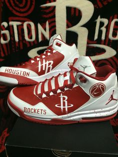 new arrival be5c3 da17f Custom painted Houston Rockets Jordan Flight Origin 2 shoes