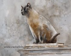 Cat art PRINT of original watercolor cat painting 8x10 (Cat on books II VERTICAL) grey gray white cream brown in soft vintage feel