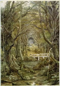 Alan Lee - Illustrations for the 1997 reissue of J. Tolkien's The Hobbit: Flies And Spiders (IT: Mosche e ragni) _VI Lotr, Tolkien Books, J. R. R. Tolkien, Alan Lee, Lord Of Rings, Into The West, Science Fiction, Fantasy Landscape, The Hobbit
