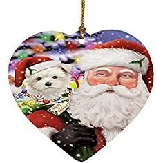 Maltese Christmas Ornament Jolly Old Saint Nick Santa Holding Maltese Dog  and Happy Holiday Gifts Heart fd9f2a581