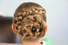 For an easy & elegant updo, check out this dutch flower braid hairstyle guide! Pretty & practical, the dutch flower braid is perfect for girls on the go. Braided Hairstyles For School, French Braid Hairstyles, Cute Girls Hairstyles, Prom Hairstyles, Summer Hairstyles, Beautiful Hairstyles, French Braids, Summer Hairdos, Communion Hairstyles