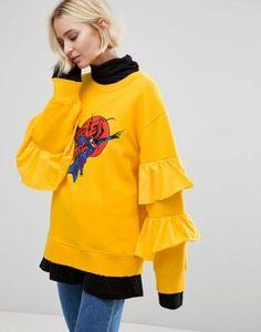 STYLENANDA Oversized Sweatshirt With Varsity Print & Frill Sleeves