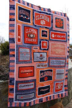 CUSTOM T-shirt Quilt – Memory Quilt – Graduation Gift – Custom Quilt – Made to Order Size Varies (Deposit Only) – Tee shirt quilt - To Have a Nice Day Clemson Tigers, Gifts For Baseball Lovers, Layout, Custom Quilts, T Shirt Diy, T Shirts With Sayings, Custom T, Tutorial, Quilt Making
