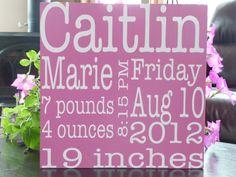 Custom Birth Announcement Sign  Subway Art by JMarieSigns on Etsy, $35.00