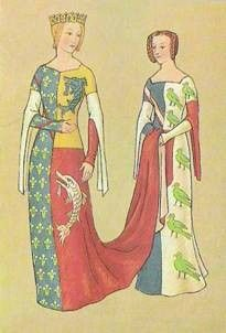 Heraldic dress.  Can I find period documentation for this style of heraldic cotehardie?   Auguste Racinete illustration (The complete costume history).