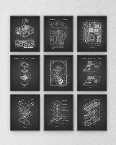 Ultimate Computer Patent Wall Art Poster Set of 9 by QuantumPrints