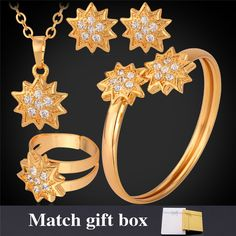 New Wedding Jewelry Set Yellow Yellow Gold Color Rhinestone Ring Earrings Pendant Bangle Fashion Set For Women MGC PEHR1199