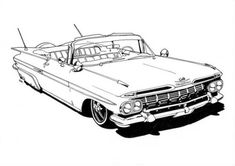 The Lowrider coloring book is ideal for your lil' jefe for the jolidays – En Güncel Araba Resimleri Car Drawing Kids, Cool Car Drawings, Art Drawings, Lowrider Drawings, Truck Coloring Pages, Coloring Books, Coloring Sheets, Old School Cars, Car Illustration