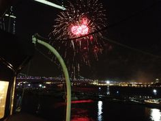 Not sure if this bride and groom could have chosen a better way to end their wedding!  June 30, 2012, this is a side view from on board the Moshulu in Philadelphia and the fireworks were part of the July 4 week long celebration.  What a view!