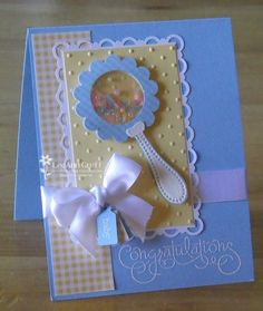 Okay my friend is getting me hooked on these adorable paper cards and crafts! I guess it's time to learn something knew! Baby blue and yellow (dots and gingham)((card-making)) Baby Boy Cards Handmade, New Baby Cards, Greeting Cards Handmade, Tarjetas Diy, Punch Art Cards, Baby Shower Cards, Shaker Cards, Creative Cards, Kids Cards
