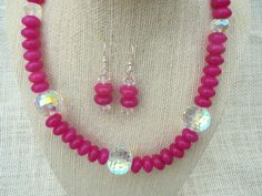 Dyed Pink Jade Clear Crystal Necklace and Earrings by jazzybeads