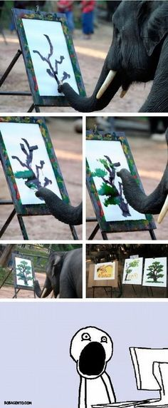 That awkward moment when an elephant paints a better tree then you do.
