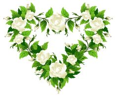 White Roses Heart Decor PNG Clipart Picture