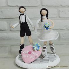 Roller skate wedding cake topper decoration gift by annacrafts