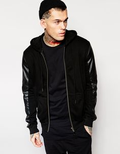 Stephen James Religion Hoodie with Faux Leather Sleeves ❤️