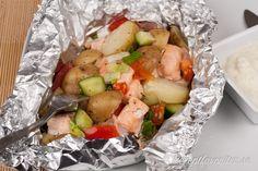 Lax i foliepaket med potatis och fetaost