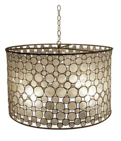 "Serena Drum Chandelier - Metal Frame w/Capiz Shell Circles; Includes Canopy & 3-Foot Chain *Four Bulbs Not to Exceed 60W Oly studio  26""Diameter x 16.25""H"