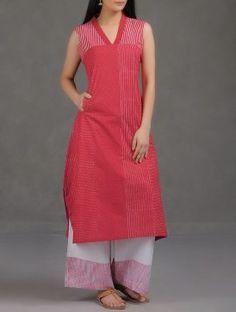 Red Khari Block-Printed Cotton Mul Kurta with Pocket