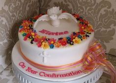 Dove in a ring of flowers - Confirmation cake