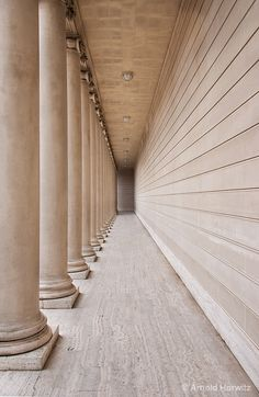 5. Perspective/Vanishing point on the back wall. Each column as you move closer to the vanishing point is smaller and further away with less detail